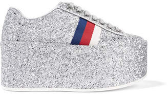 Gucci Glittered Leather Platform Sneakers - Silver