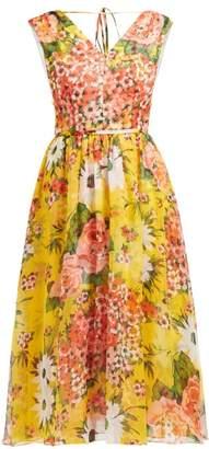 Carolina Herrera Floral Print Silk Chiffon Dress - Womens - Yellow Multi