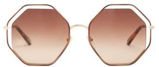 Chloé - Poppy Hexagon Frame Sunglasses - Womens - Tortoiseshell