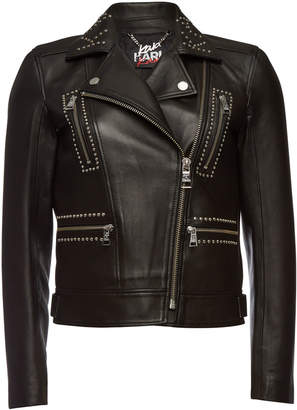Gerber Karl X Kaia Karl x Kaia Embellished Leather Biker Jacket