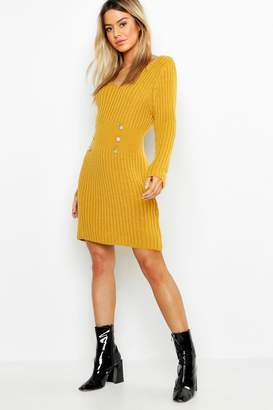 boohoo Petite Gold Button Knitted Dress