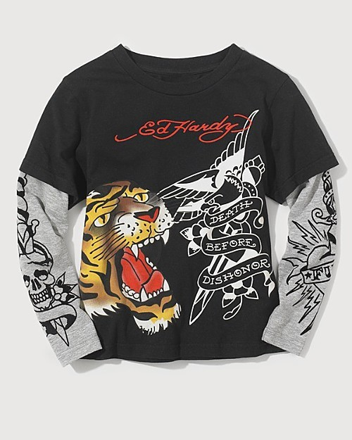 Ed Hardy Boys' Double Layer two-fer Tiger Long Sleeve Tee Shirt