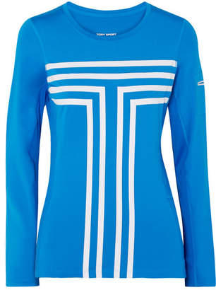 Tory Sport Printed Stretch-jersey And Mesh Top - Blue