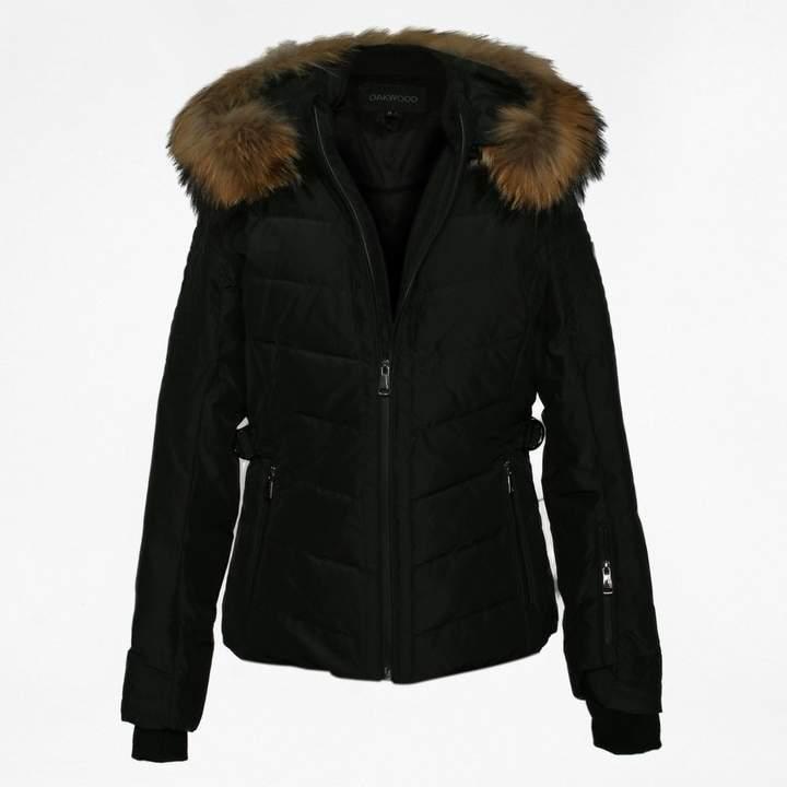 Competition Black Fur Trim Hooded Jacket