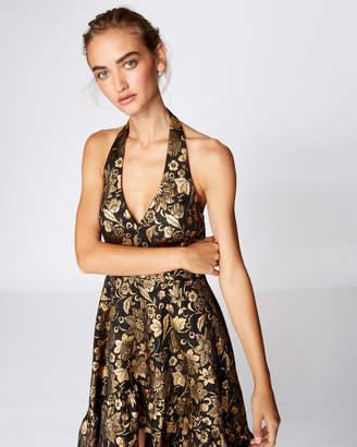 Nicole Miller Golden Brocade High Low Dress