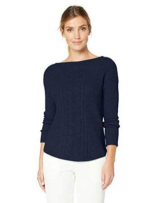 Chaps Women's Stitched-Front Boatneck Pull Over Long Sleeve Sweater