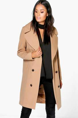 boohoo Maya Oversized Collar Double Breasted Coat $80 thestylecure.com
