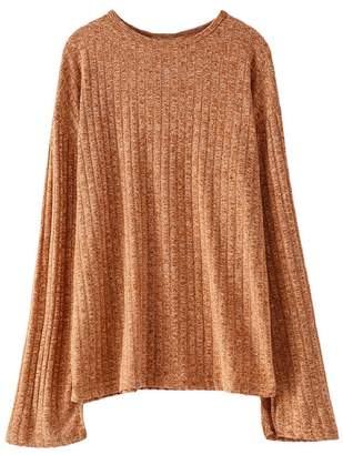 Goodnight Macaroon 'Aniyah' Ribbed Bell Sleeves Sweater (4 Colors)