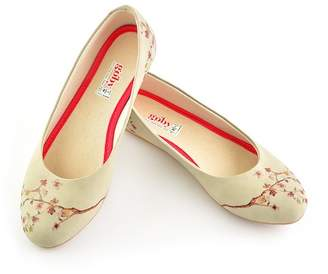 Goby Cherry Blossom Print Faux Leather Ballet Flat