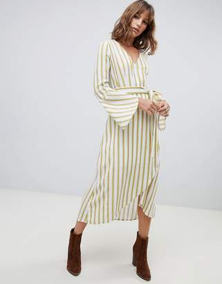 Moon River wrap dress in mustard stripe