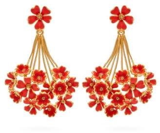 Oscar de la Renta Geranium Floral Drop Earrings - Womens - Red