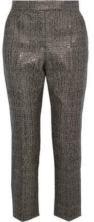 Sequin-Embellished Wool-Tweed Straight-Leg Pants