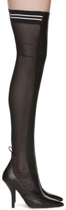 Fendi Black Mesh Thigh-High Boots