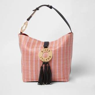 River Island Womens Pink woven hoop and tassel slouch tote bag