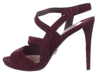 Prada Suede Ankle Strap Sandals silver Suede Ankle Strap Sandals