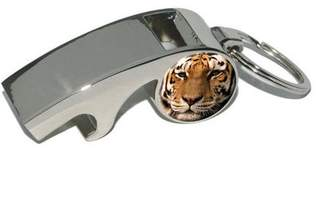 Generic Bengal Tiger Face, Plated Metal Whistle Bottle Opener Keychain Key Ring