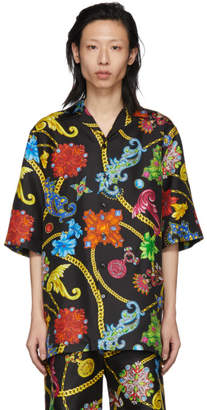 Versace Multicolor Silk Floral Shirt