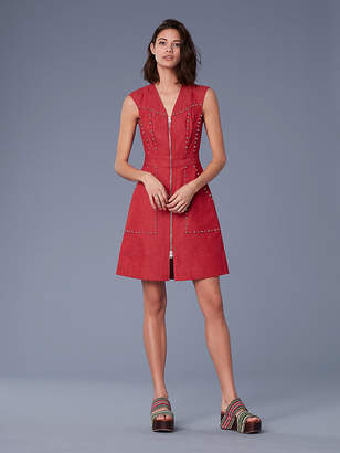 Diane von Furstenberg Zip Front Sheath Denim Dress