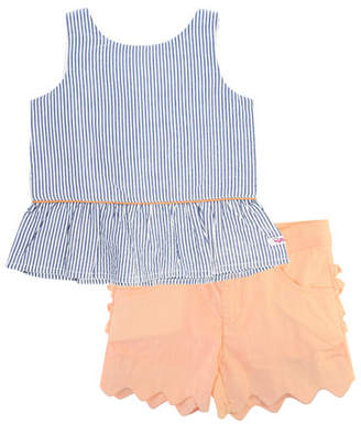 RuffleButts Seersucker Peplum Top w/ Scallop Shorts, Size 12M-3T