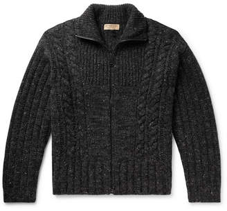 Burberry Cable-Knit Mélange Cashmere, Wool And Mohair-Blend Zip-Up Cardigan