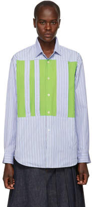 Comme des Garcons Blue Striped Cut-Outs Shirt