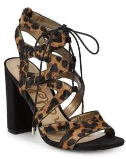 Sam Edelman Calf Hair & Leather Ankle Strap Sandals