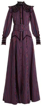 Erdem Embellished High Neck Striped Gown - Womens - Burgundy Stripe