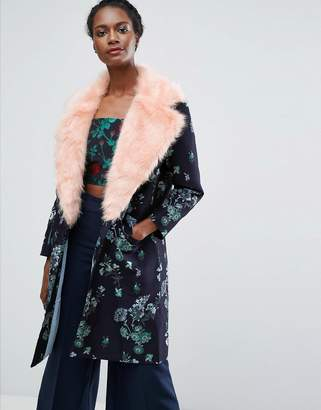 Endless Rose Jacquard Coat With Contrast Faux Fur