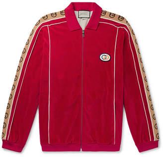 Gucci Oversized Logo-Appliqued Webbing-Trimmed Piped Velvet Track Jacket - Men - Red
