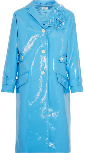 Miu Miu Miu Miu - Appliquéd Faux Patent-leather Coat - Light blue