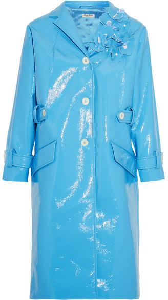 Miu MiuMiu Miu - Appliquéd Faux Patent-leather Coat - Light blue