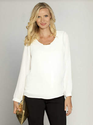 Angel Maternity Layered Chiffon Breastfeeding Blouse White