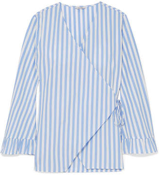 Ganni Swimton Striped Cotton Wrap Top - Sky blue