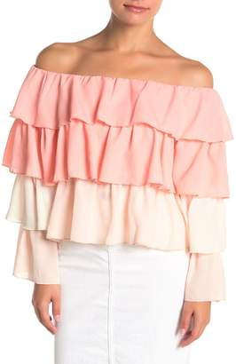 OnTwelfth Ombre Ruffled Off-The-Shoulder Top