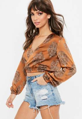 Missguided Rust Brown Elastic Wrap Over Crop Top