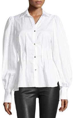 Petersyn Waverly Button-Front Blouson-Sleeve Cotton Shirt