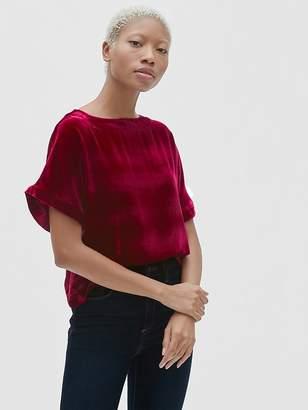 Gap Velvet Ruffle Sleeve T-Shirt