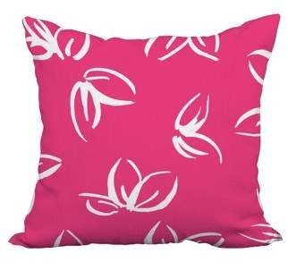 Simply Daisy 18 x 18 Inch Eva Pink Floral Print Decorative Polyester Throw Pillow with Linen Texture