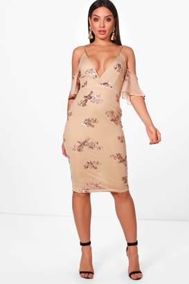 boohoo Boutique Sequin & Mesh Midi Dress