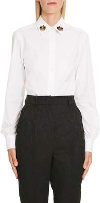 Dolce & Gabbana Crown Detail Stretch Poplin Shirt