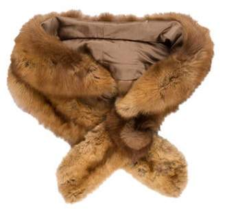 Fur Knit Long Scarf Brown Fur Knit Long Scarf