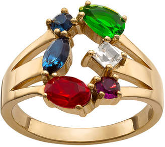 FINE JEWELRY Personalized Womens Multi Color Crystal 18K Gold Over Brass Cocktail Ring