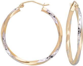 JCPenney FINE JEWELRY 10K Gold Two-Tone Narrow Twisted Hoop Earrings