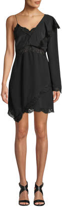 Haven Long-Sleeve Silk Short Dress w/ Lace