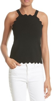 Women's Milly Scallop Knit Tank $195 thestylecure.com
