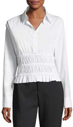 Robert Rodriguez Shirred-Waist Long-Sleeve Cotton Poplin Shirt
