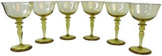 One Kings Lane Vintage Yellow/Gold Wine Stemmed Goblets - Set of 6
