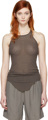 Rick Owens Grey Basic Ribbed Tank Top $250 thestylecure.com