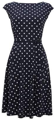 Wallis Navy Polka Dot Print Fit and Flare Dress