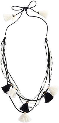Vineyard Vines Black & White Beaded Tassel Necklace